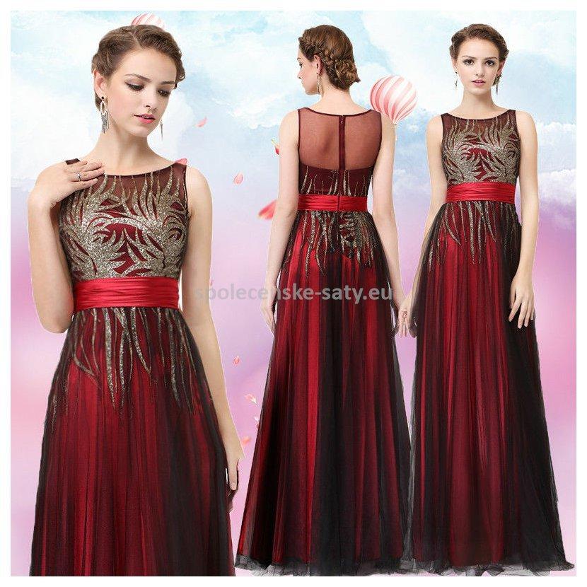 Červené černé princeznovské šaty 42 XL  603e3ee8b7