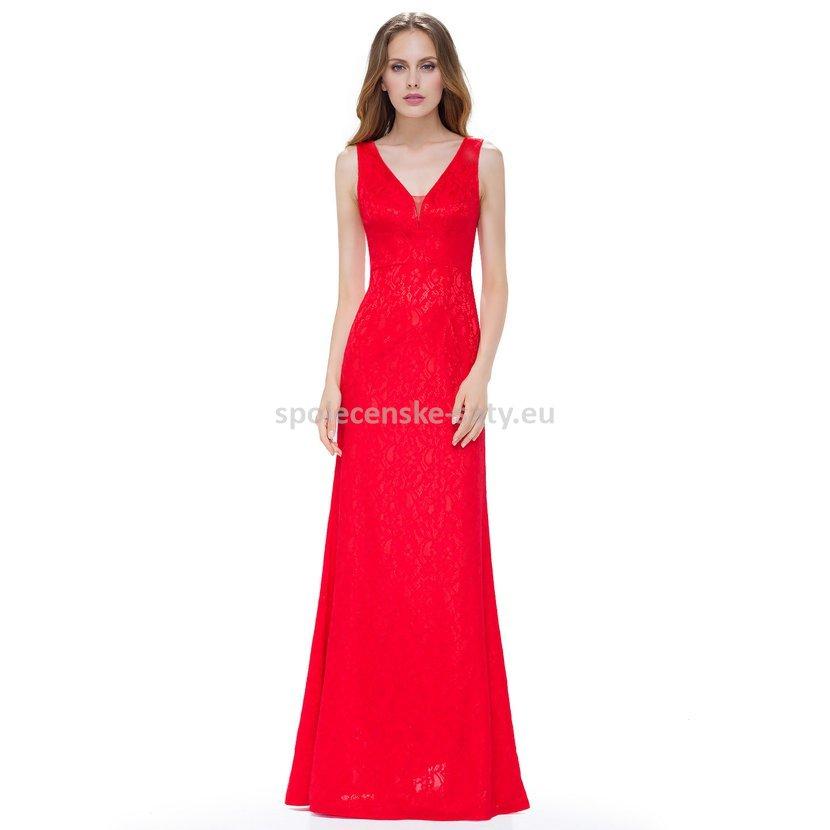 Červené dlouhé krajkové šaty na ples 42 XL  faf7308f1a