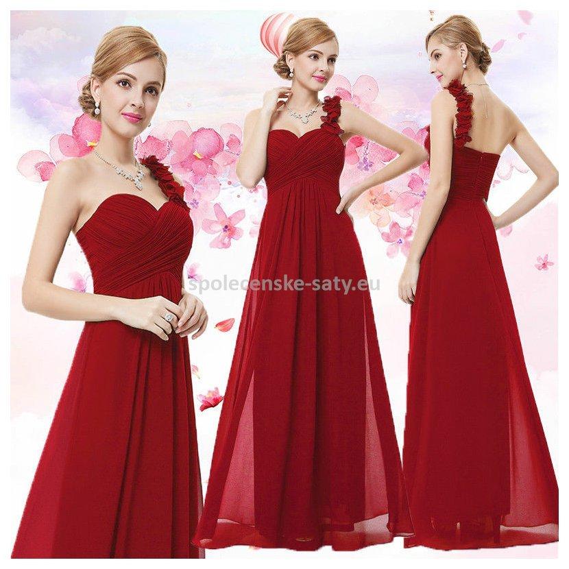 Červené dlouhé společenské šaty na jedno rameno i pro těhotné 44 XXL ... c272f83498