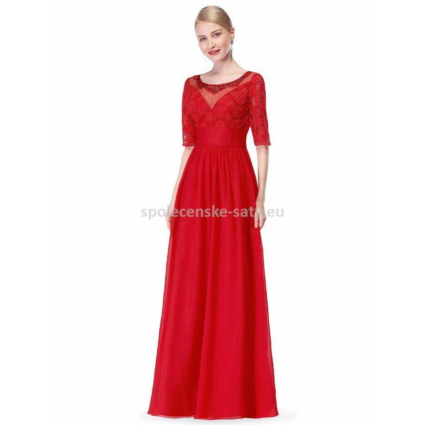 Jednoduché červené společenské šaty s rukávem 38 M  145a63e6f38