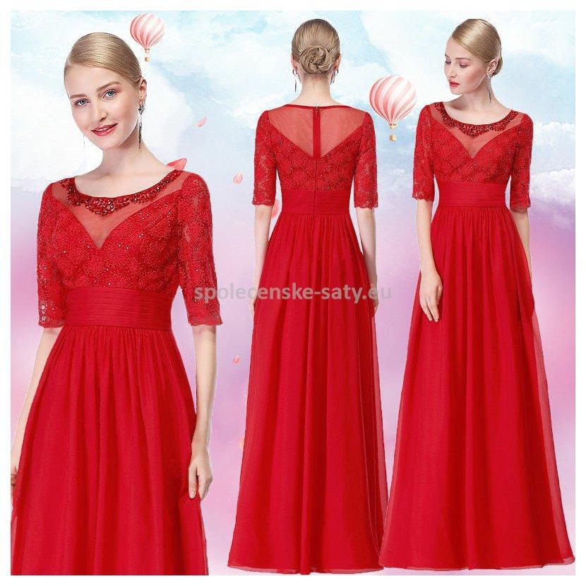 7022162e8156 Jednoduché červené společenské šaty s rukávem 38 M
