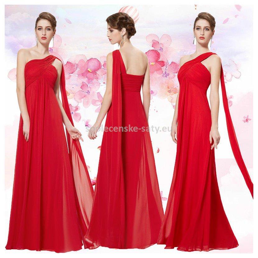 Červené dlouhé společenské šaty na 1 rameno empírové i pro těhotné ... 47e9d4247c