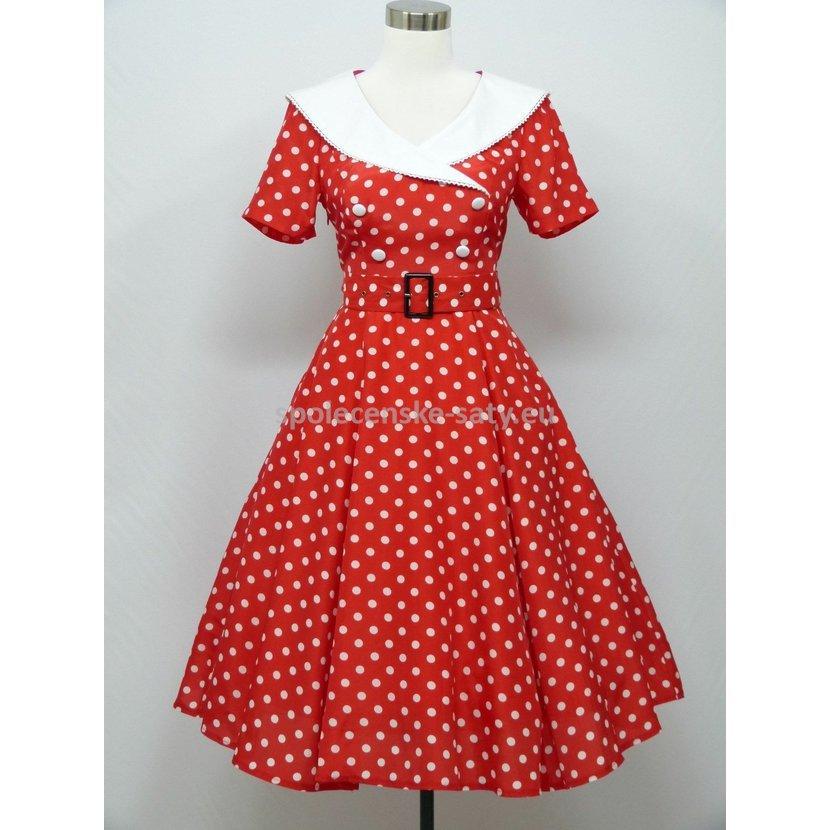 cc05a37a815 Červené krátké retro šaty s puntíky s rukávem 52 baculky
