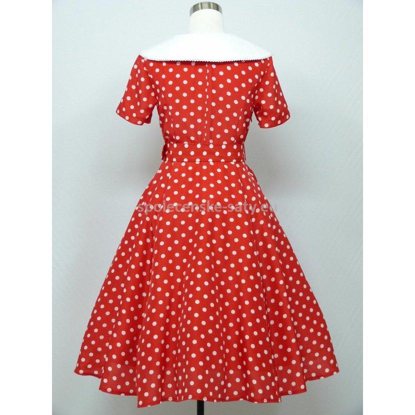 b76731ce37b7 Červené krátké retro šaty s puntíky s rukávem 44 XXL