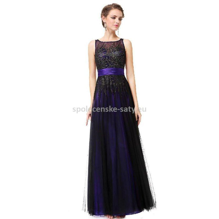 59953e077f8 Fialové černé princeznovské šaty 34 XS