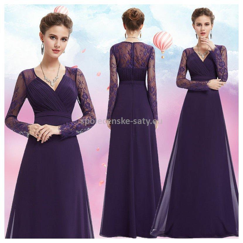 d57bf7a1b2d fialove-dlouhe-lux-saty-svatebni-matka-rukav3.jpg. Fialové dlouhé  společenské šaty s rukávem na svatbu ples operu ...