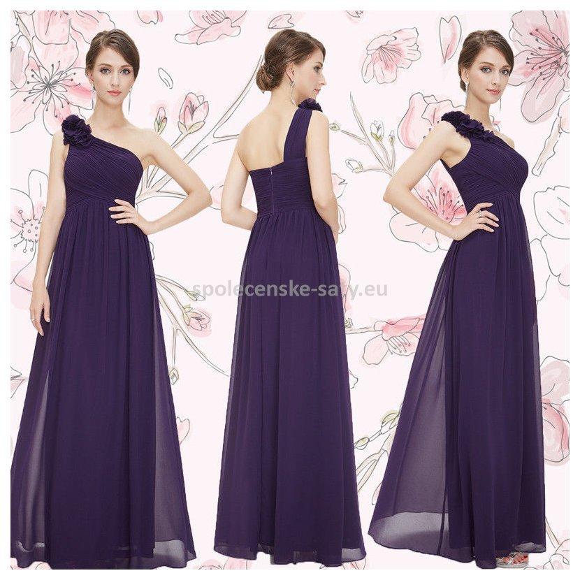Fialové dlouhé společenské šaty na jedno rameno 38  2bfd8b5bad8