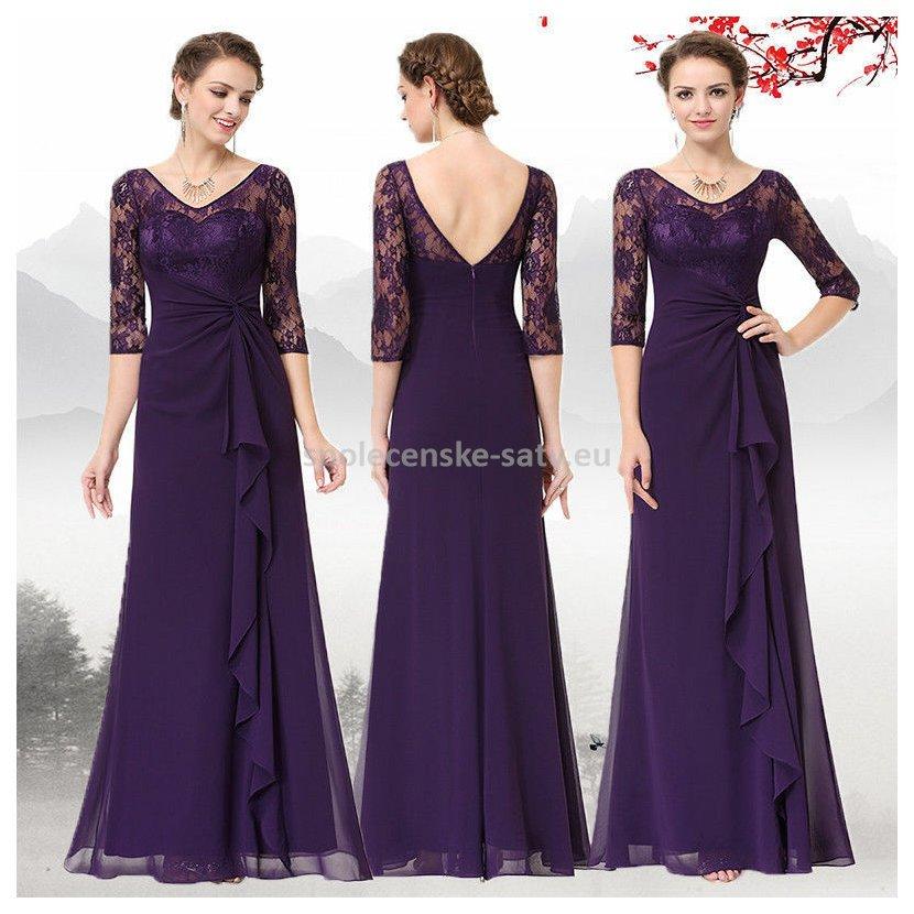 Fialové dlouhé večerní společenské šaty s rukávem 36 S  01746e5e2cc