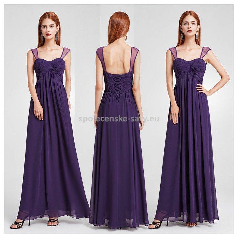 Fialové dlouhé společenské šaty 36-38 i pro těhotné  5d2a5d82bc