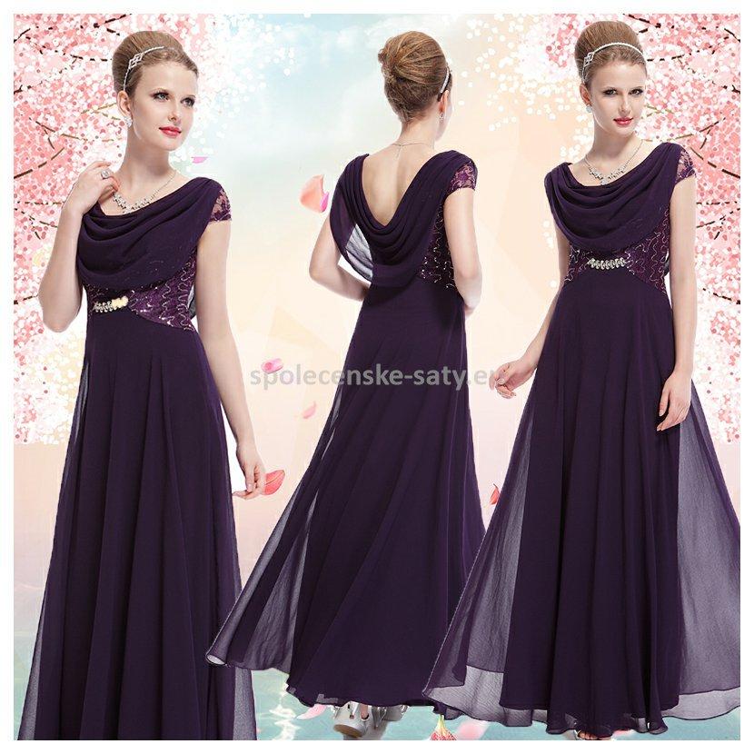 Fialové dlouhé společenské šaty s rukávkem na ples s vodou 36 S ... 3d50f044efd