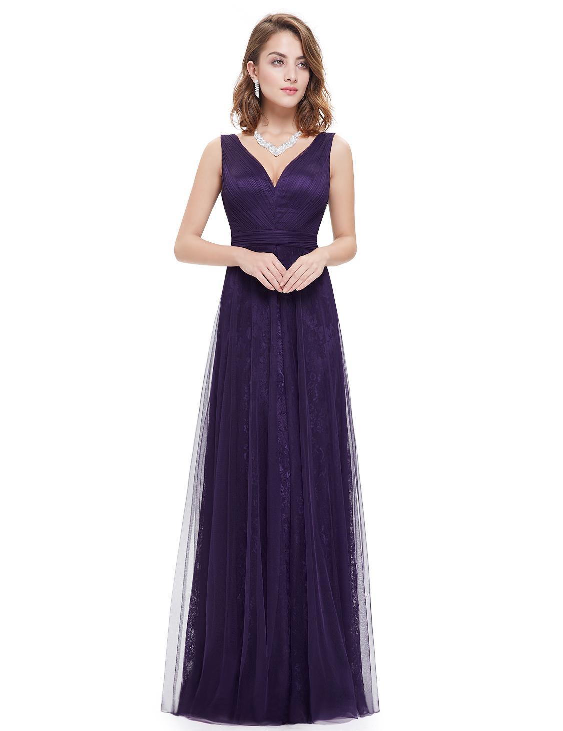 Fialové tmavé večerní šaty i pro starší dámy na galavečer 46 XXXL ... 37d767299e