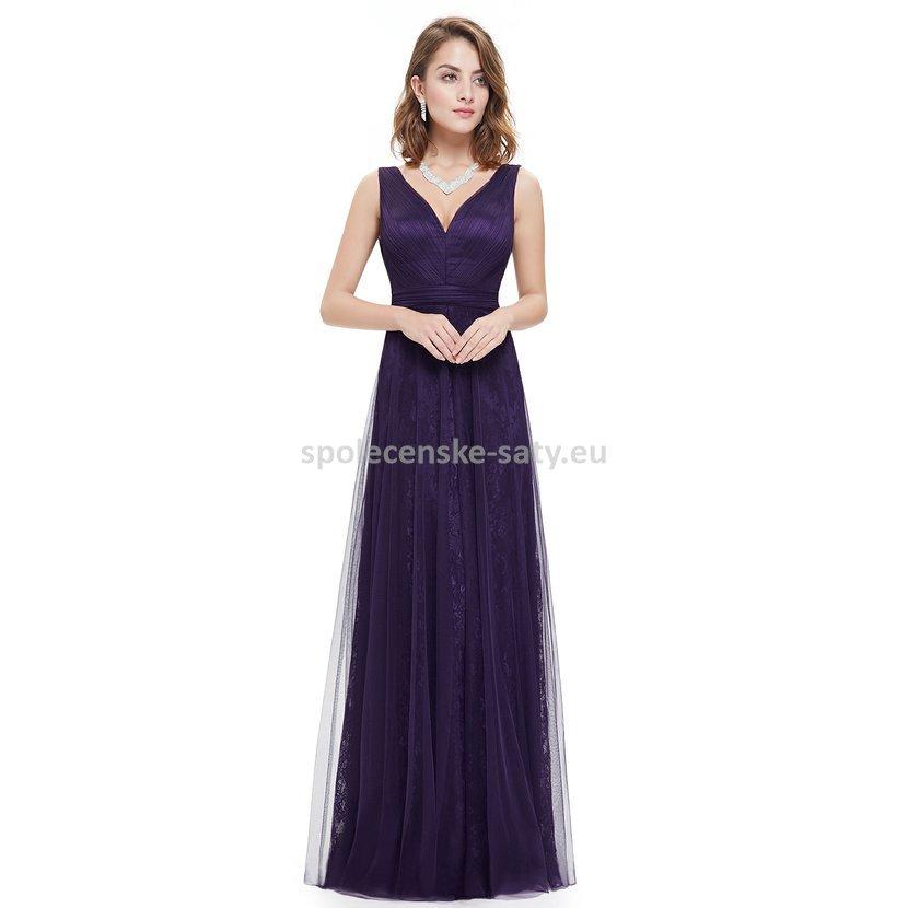 Fialové tmavé večerní šaty i pro starší dámy na galavečer 46 XXXL ... d7e93b39db