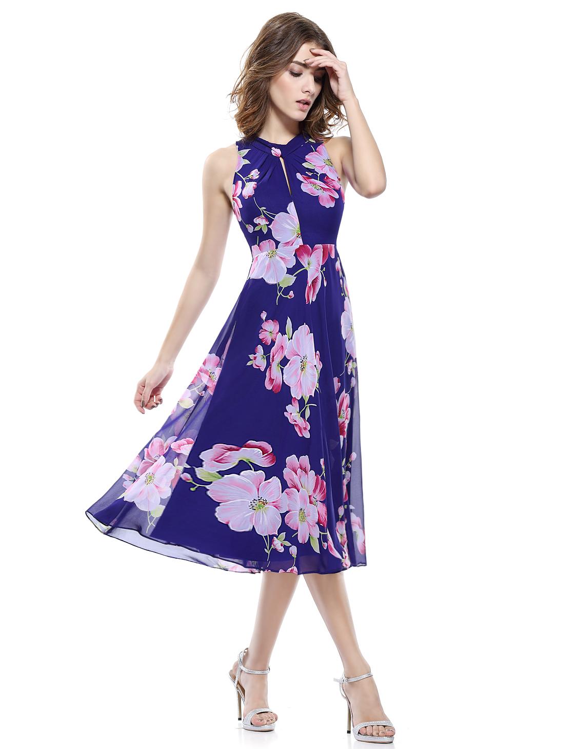 57d98070d96 Fialové krátké květvané šaty letní pod kolena 34-36