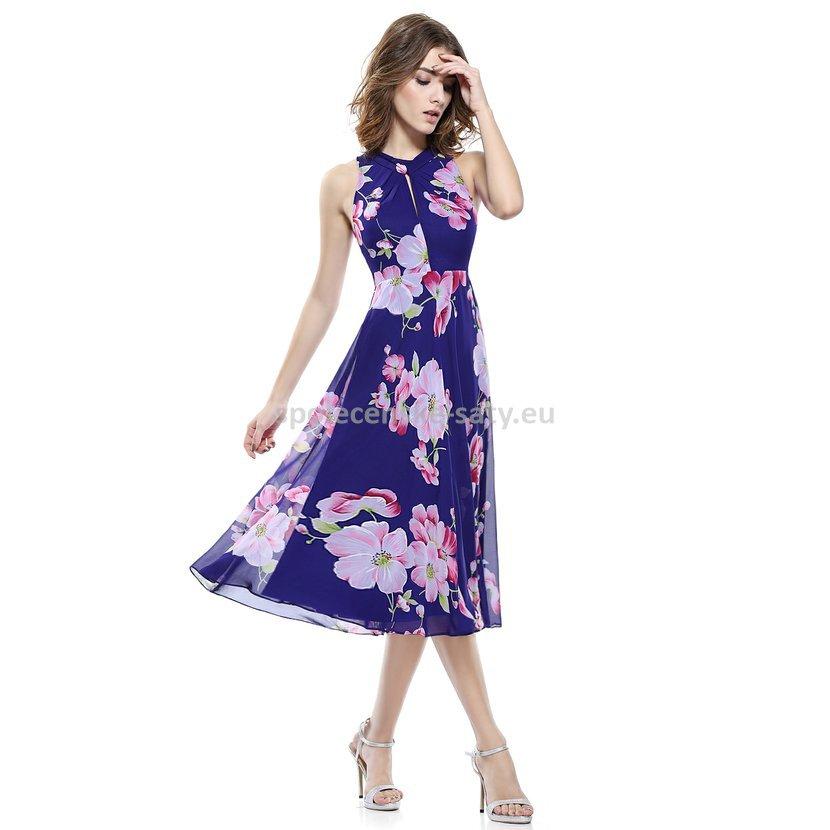 Fialové krátké květvané šaty letní pod kolena 34-36  b9aa75d0194