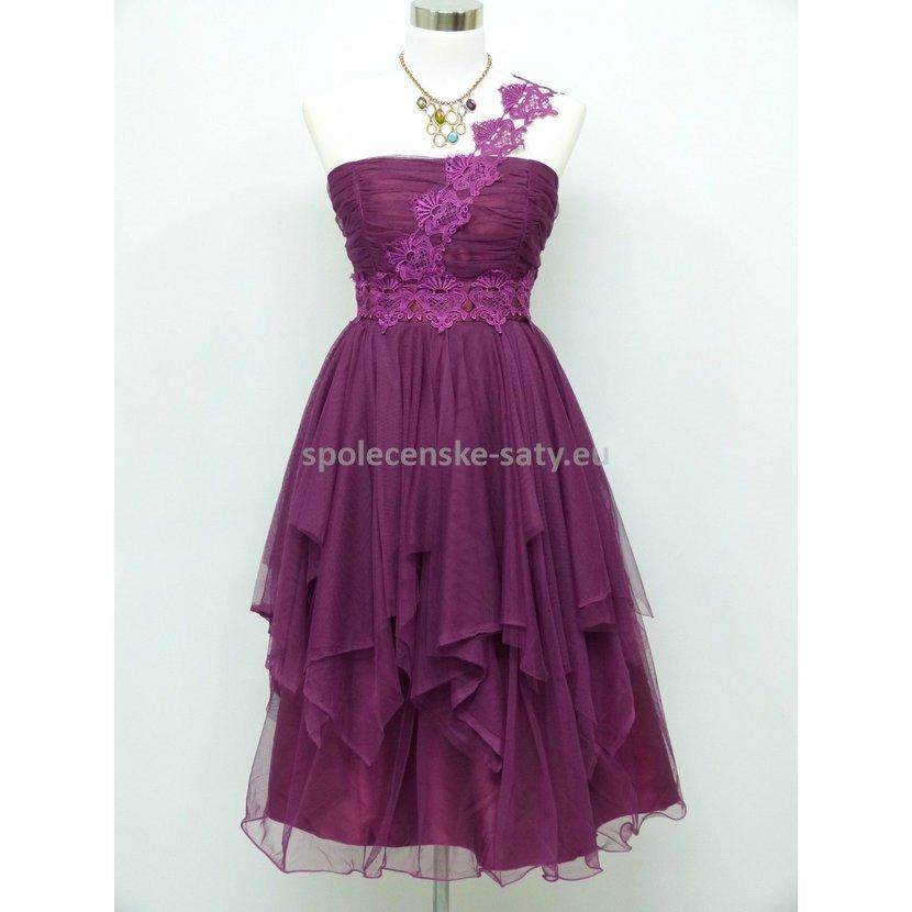 Fialové krátké plesové šaty tylové 46-48  22fde370b85