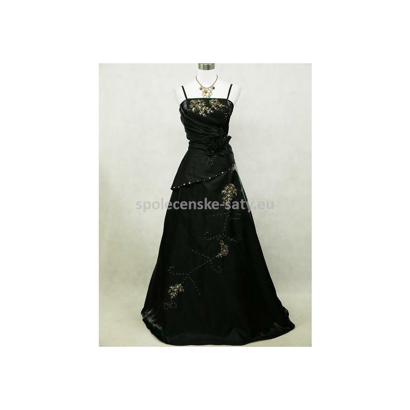 6307d9a6ad8a Černé dlouhé plesové šaty se zlatou v nadměrné velikosti 48-50 ...