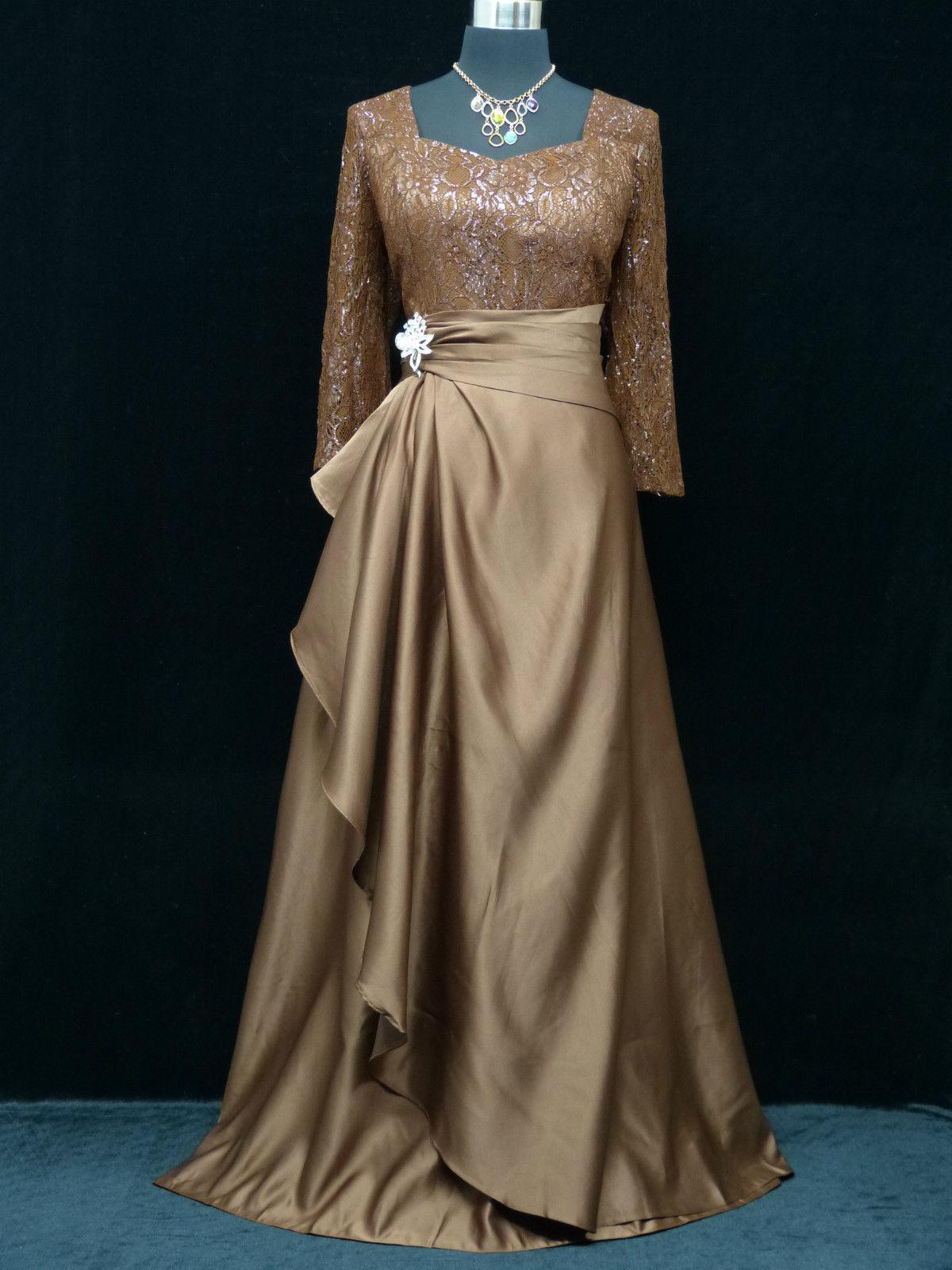 Hnědé plesové šaty s rukávem pro starší dámy 52-54  c1d8cc661c7