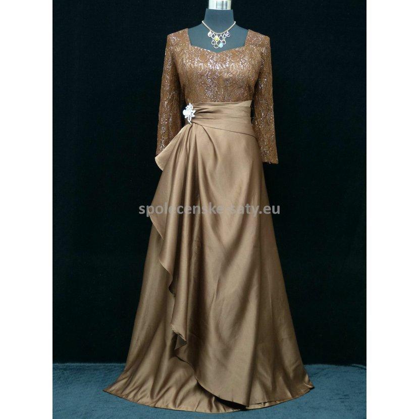 Hnědé plesové šaty s rukávem pro starší dámy 52-54  a9722722f5