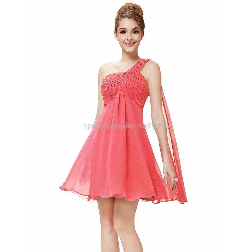 Lososové korálové krátké společenské šaty na 1 rameno empírové i pro ... 5c513e41b46