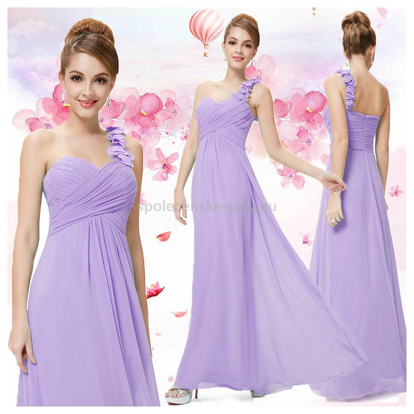 Lila dlouhé společenské šaty na jedno rameno i pro těhotné 44 XXL ... 6634e849232