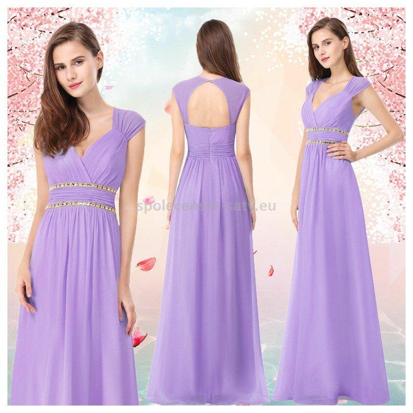Levandulové dlouhé společenské šaty ve stylu řecké bohyně 38-40 ... ce3e71b401
