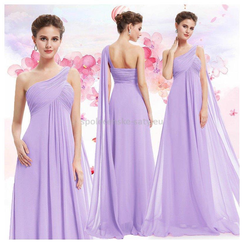 Levandulové dlouhé společenské šaty na 1 rameno empírové i pro ... 3ee5d1fef3