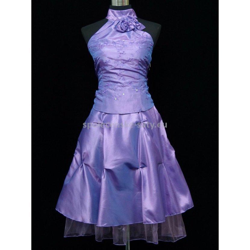 Lila krátké plesové šaty za krk 40-42 1eb8ecfabf