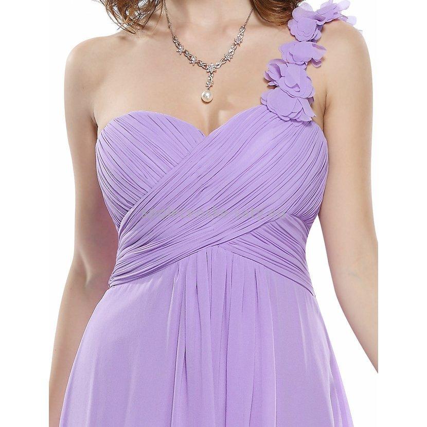 Lila krátké společenské šaty koktejlky na jedno rameno 40 L  ddaea9883e