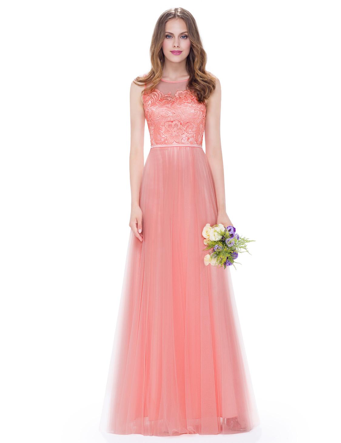 Lososové dlouhé plesové šaty s tylovou sukní 40-42  8d9a4bf07c
