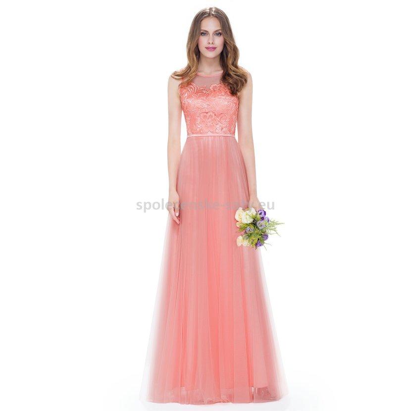 c3ea81d89207 Lososové dlouhé plesové šaty s tylovou sukní 40-42