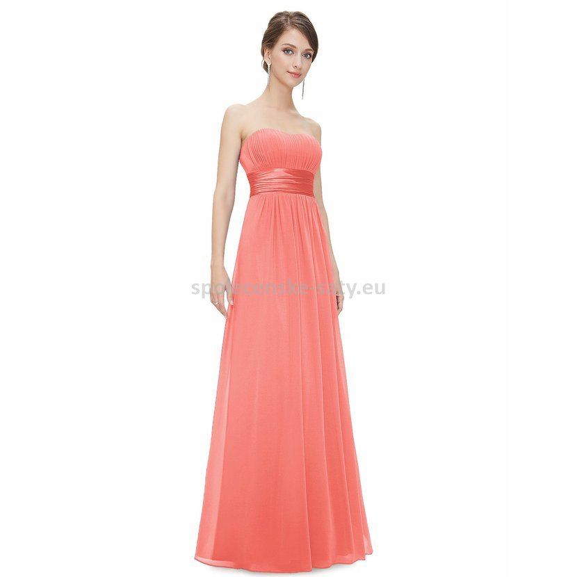 38a52f7a6b9 Lososové dlouhé společenské šaty bez ramínek i pro těhotné 38 M ...