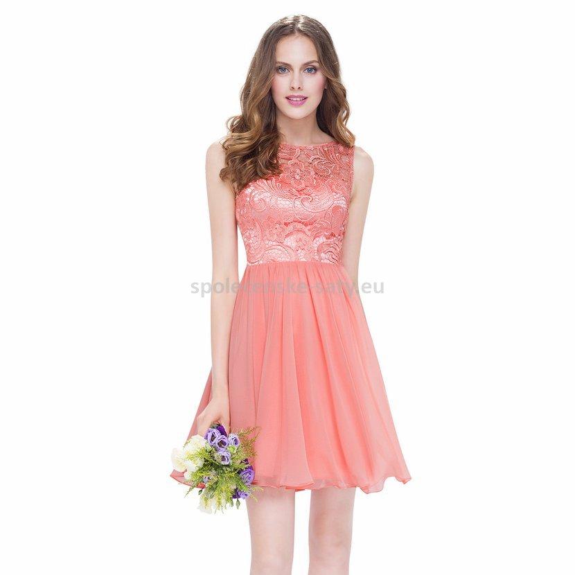 Lososové krátké plesové šaty s baletkovskou sukní 44 XXL  a432bc41bd