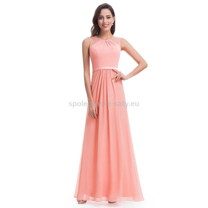 Meruňkové dlouhé společenské svatební šaty na hrubší ramínka 40-42 ... fbc7a32708