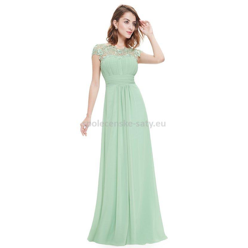 e11ed3ebcb60 Mintové zelené dlouhé šaty do společnosti na ples svatbu s rukávkem ...
