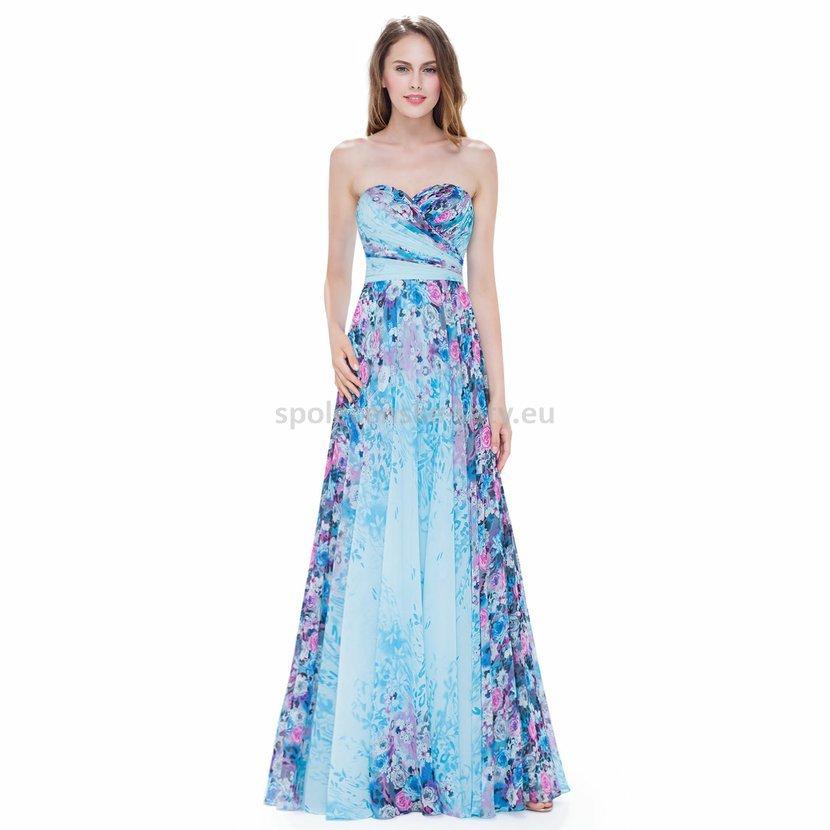 Modré dlouhé letní luxusní šaty se vzorem na svatbu 40-42  e26fa2ee37