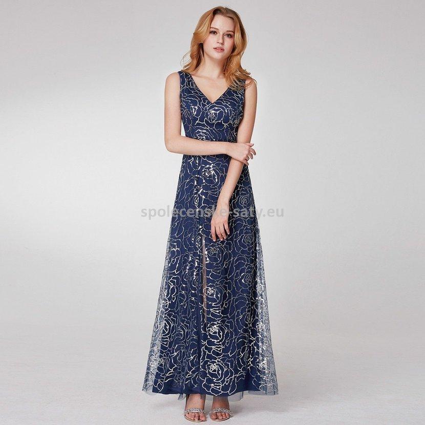 Modré dlouhé plesové šaty i pro starší dámy 34-36  66a73eb3ad