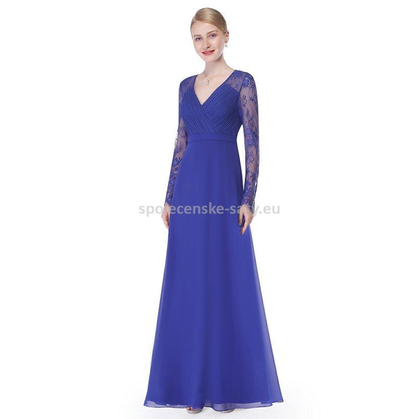 781ce75b0cb Modré dlouhé společenské šaty s rukávem na svatbu ples operu 36 S ...