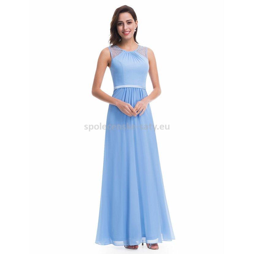 e281db7cddb Modré dlouhé společenské svatební šaty na hrubší ramínka 44 ...