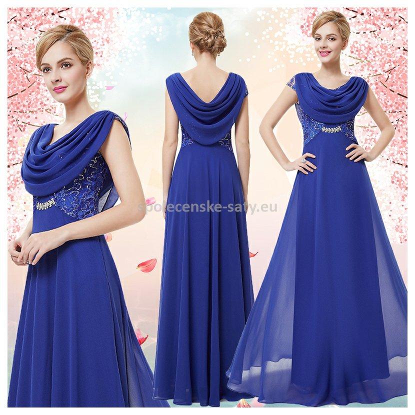 Modré dlouhé společenské šaty s rukávkem na ples s vodou 36 S ... 3eca0700bda