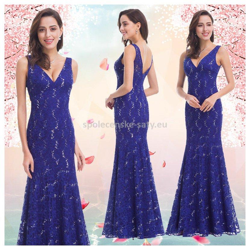 1eed2b1a7ca Modré dlouhé pouzdrové šaty společenské 40-42