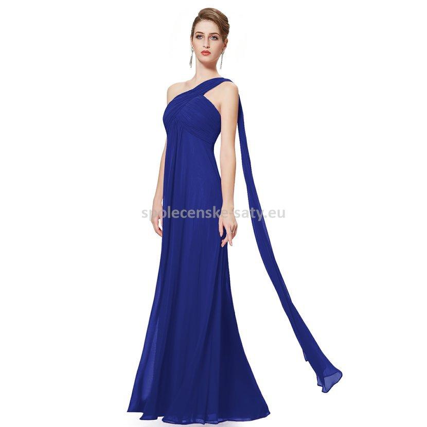 Modré dlouhé plesové šaty na rameno empírové i pro těhotné 44 XXL ... 00642f49031
