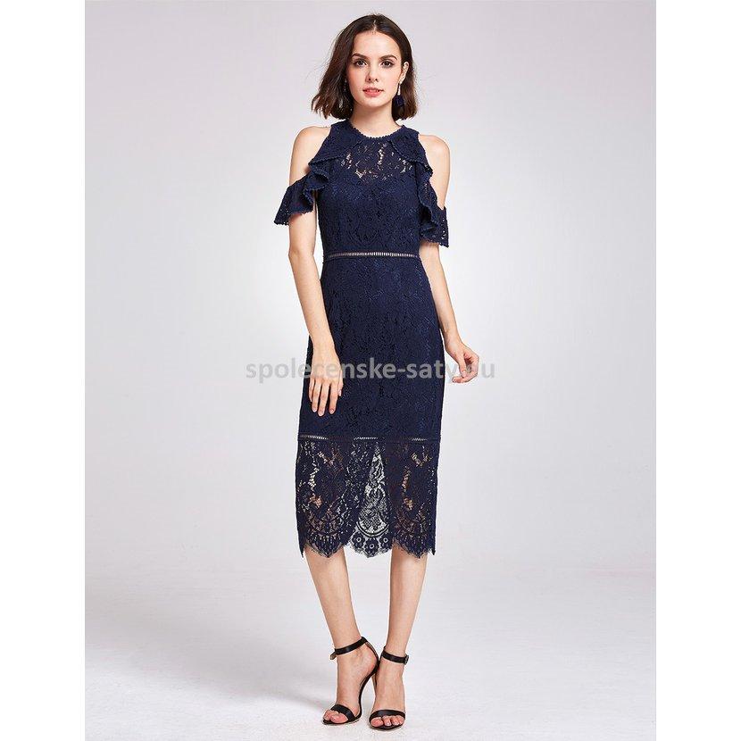 Tmavě modré midi šaty po kolena krajkové 42  2391b2e38f