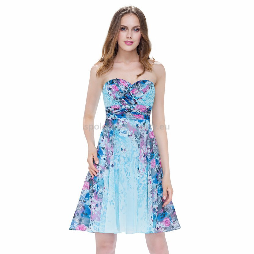 Modré krátké letní šifonové šaty se vzorem na svatbu 34-36  f703835508
