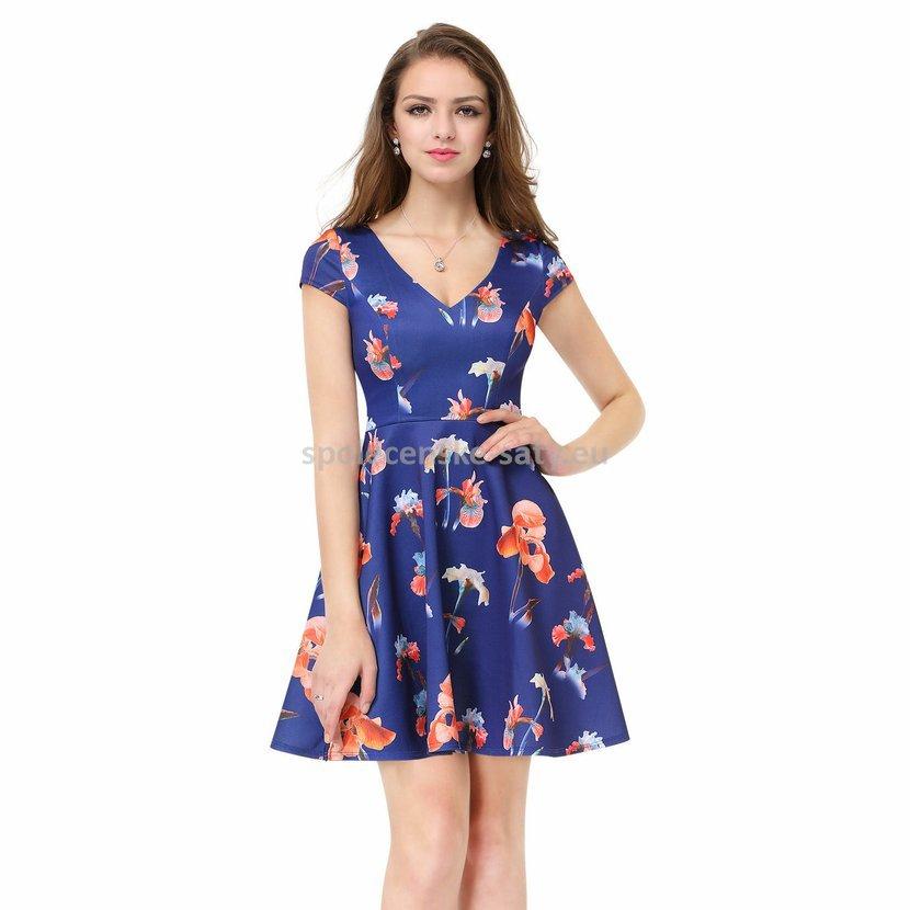 Modré krátké letní šaty na svatbu s rukávem 40-42  29d24a36e1