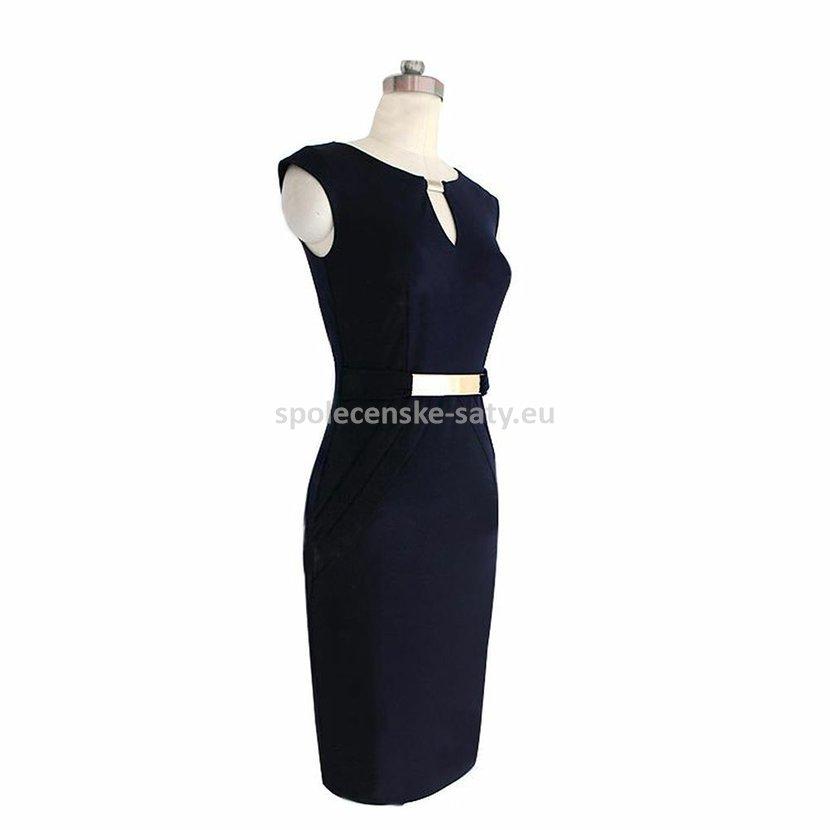 Tmavě modré krátké šaty pouzdrové koktejlky na svatbu 38-40  2d15d951d7