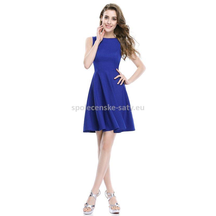 Modré krátké šaty áčkové do tanečních na svatbu 44  c27c303fcef