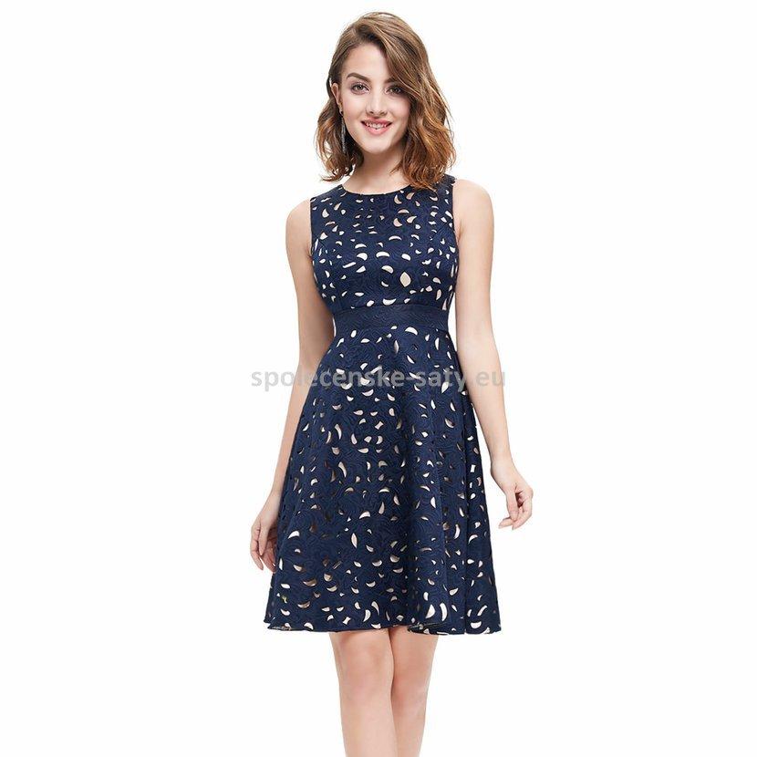 Modré krátké společenské šaty na svatbu 42 XL  d69b7580a69