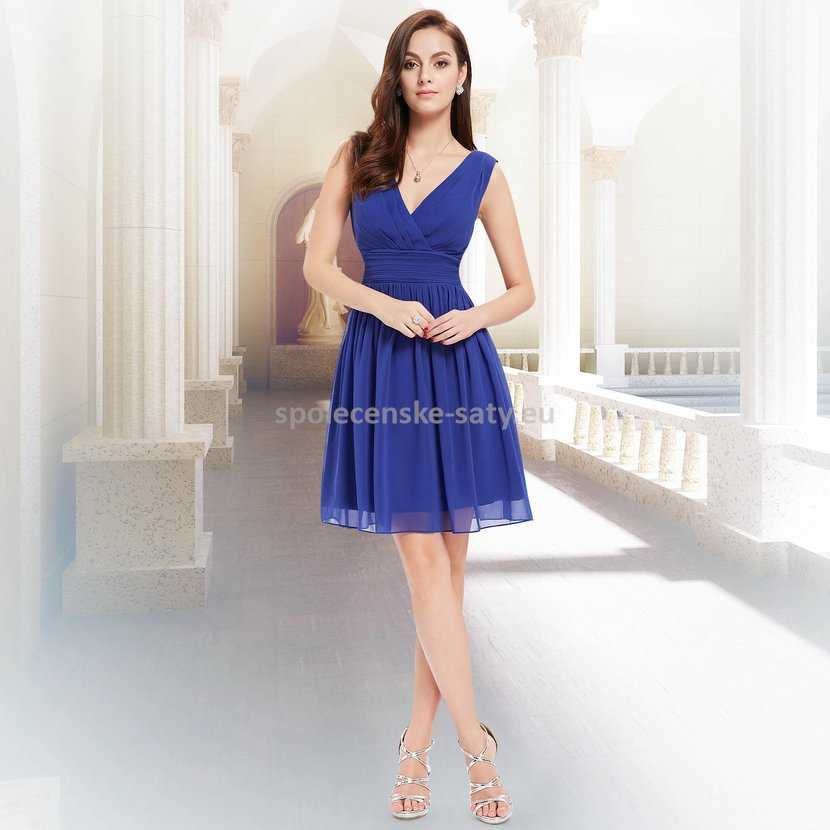 Modré krátké elegantní šaty na hrubší ramínka 46  e2c30b40a5d