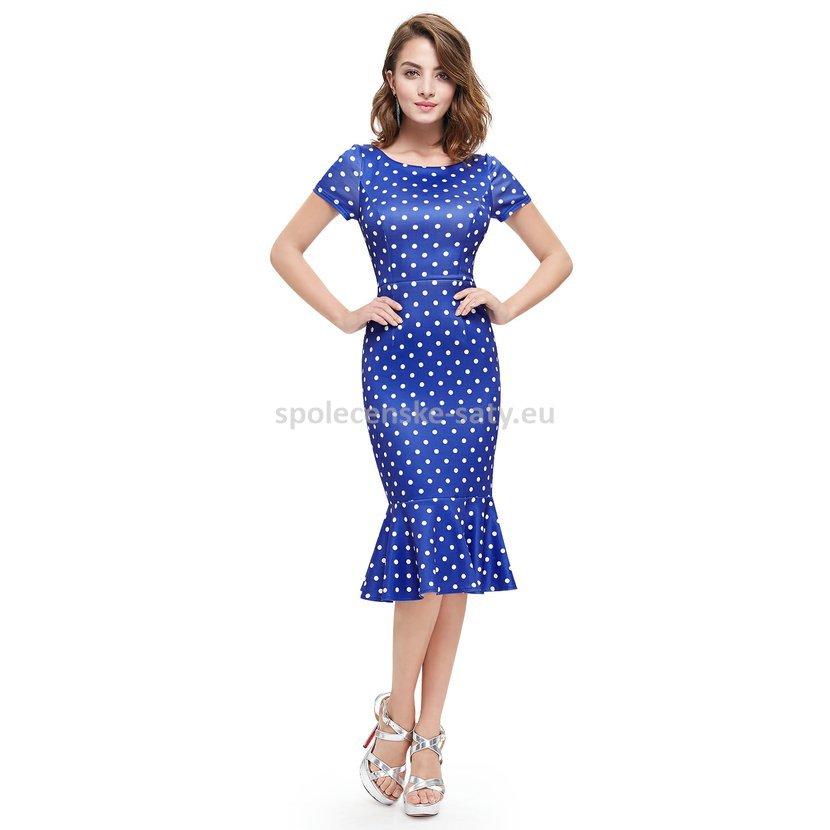 25c06cf64de3 Modré krátké retro šaty pouzdrové s rukávem puntíkované 36 S ...