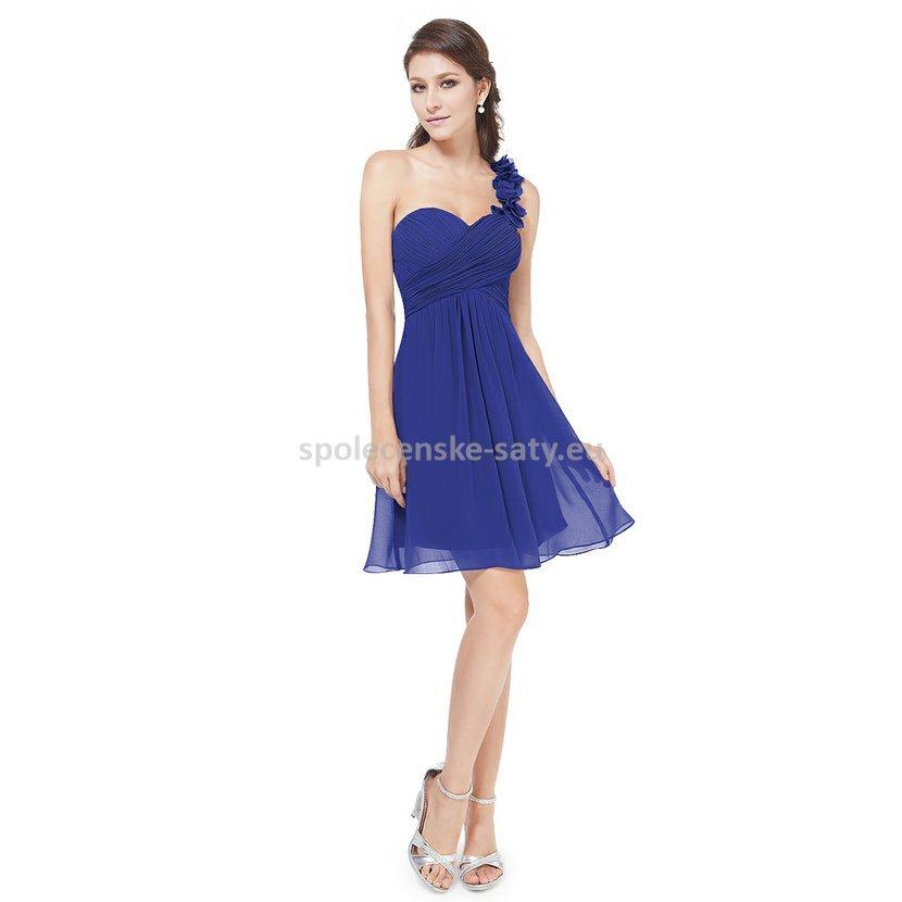 Modré krátké společenské šaty koktejlky na jedno rameno 44 xxl ... d3ce36f1f3